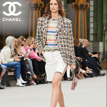 CHANEL Pencil Skirts Short Casual Style Plain Leather