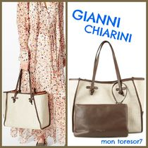 GIANNI CHIARINI Casual Style A4 Plain Leather Office Style Totes