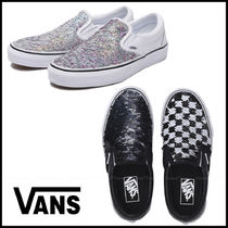 VANS SLIP ON Other Plaid Patterns Casual Style Unisex Street Style Logo