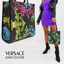 VERSACE JEANS Flower Patterns Casual Style Faux Fur 2WAY Party Style Totes