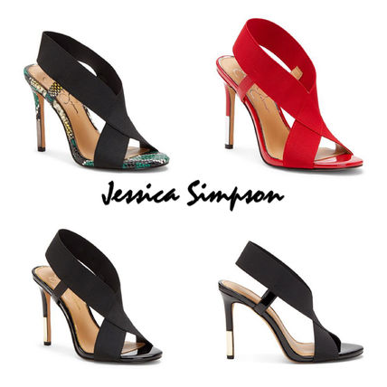 Casual Style Pin Heels Python Elegant Style Heeled Sandals