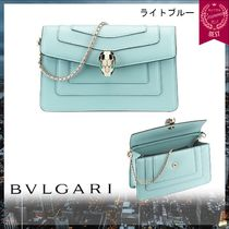 Bvlgari Chain Leather Elegant Style Shoulder Bags