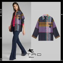 ETRO Tartan Wool Silk Long Sleeves Medium Elegant Style