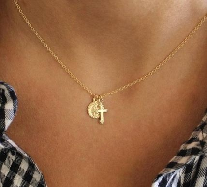 Casual Style Cross Coin Handmade 14K Gold