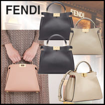 FENDI PEEKABOO Plain Leather Handbags