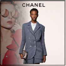 CHANEL Plain Cotton Party Style Office Style Elegant Style