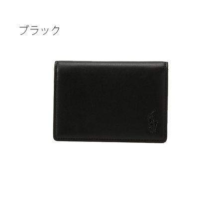 Ralph Lauren Unisex Calfskin Street Style Plain Leather Logo Card Holders