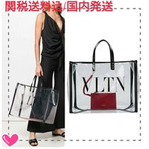 VALENTINO VLTN Studded Leather Crystal Clear Bags PVC Clothing Logo Totes