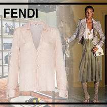 FENDI Casual Style Silk Long Sleeves Party Style Elegant Style
