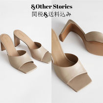 & Other Stories Square Toe Plain Leather Block Heels Elegant Style