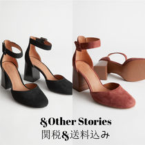 & Other Stories Plain Toe Suede Plain Leather Block Heels Office Style