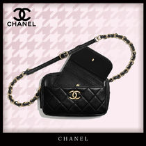 CHANEL Casual Style Lambskin Bi-color Chain Leather Elegant Style
