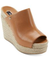 DKNY Open Toe Platform Casual Style Street Style Leather