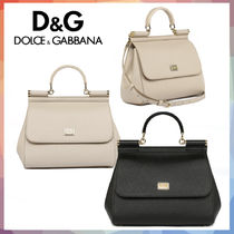Dolce & Gabbana SICILY Calfskin 2WAY Plain Leather Handbags