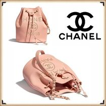 CHANEL ICON Casual Style Calfskin Studded Chain Party Style Purses