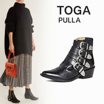 TOGA Cowboy Boots Leather Block Heels Ankle & Booties Boots