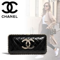 CHANEL Lambskin Chain Plain Party Style With Jewels Elegant Style