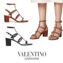 VALENTINO Open Toe Studded Leather Block Heels Elegant Style