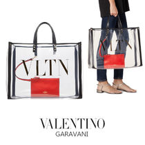 VALENTINO Casual Style Blended Fabrics PVC Clothing Totes