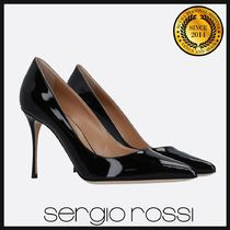 Sergio Rossi Enamel Plain Pin Heels Pointed Toe Pumps & Mules