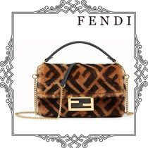 FENDI Monogram Casual Style Fur Chain Leather Elegant Style