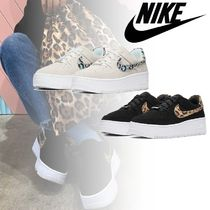 Nike AIR FORCE 1 Leopard Patterns Street Style Plain Leather Logo
