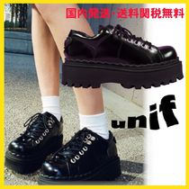 UNIF Clothing Platform Round Toe Casual Style Street Style Plain Leather