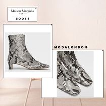 Maison Margiela 【Maison Margiela】 Python-effect leather ankle boots