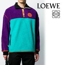 LOEWE ELN Pullovers Bi-color Long Sleeves Plain Cotton Sweatshirts