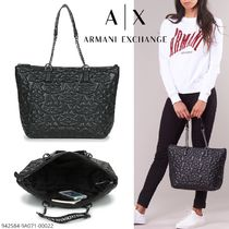A/X Armani Exchange Monogram Casual Style Faux Fur Blended Fabrics A4 Chain