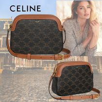 CELINE Triomphe Canvas Monogram Casual Style Calfskin Canvas 2WAY Leather