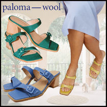 Paloma Wool Open Toe Square Toe Casual Style Plain Leather Block Heels
