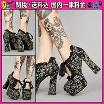 DOLLS KILL Flower Patterns Platform Round Toe Casual Style Faux Fur