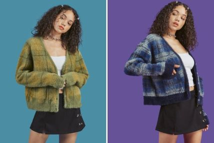 Other Plaid Patterns Street Style Long Sleeves Cardigans