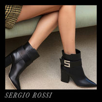 Sergio Rossi Plain Leather Ankle & Booties Boots