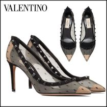 VALENTINO Dots Leather Pin Heels Party Style Office Style