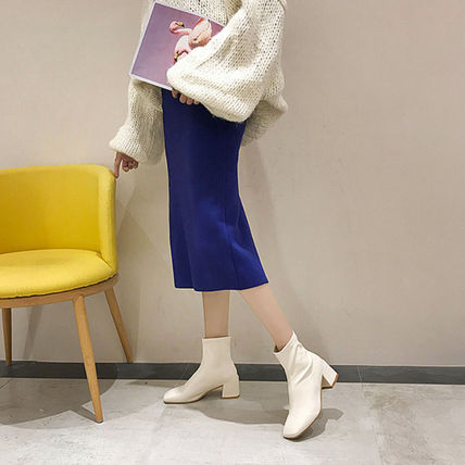 Ankle & Booties Square Toe Casual Style Faux Fur Plain Block Heels 2