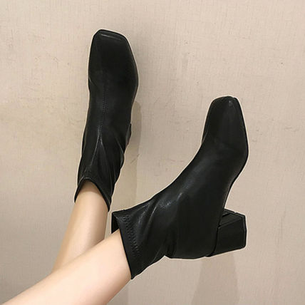 Ankle & Booties Square Toe Casual Style Faux Fur Plain Block Heels 12