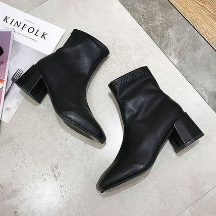 Ankle & Booties Square Toe Casual Style Faux Fur Plain Block Heels 13