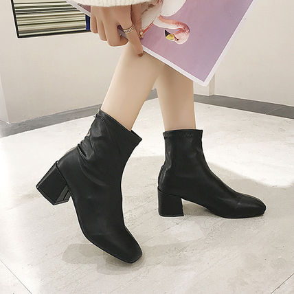 Ankle & Booties Square Toe Casual Style Faux Fur Plain Block Heels 14