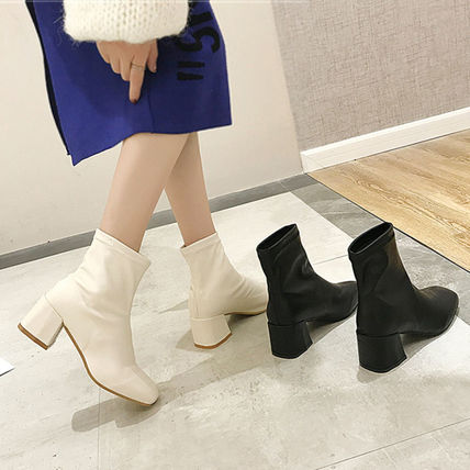 Ankle & Booties Square Toe Casual Style Faux Fur Plain Block Heels 15