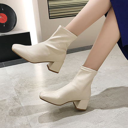 Ankle & Booties Square Toe Casual Style Faux Fur Plain Block Heels 16