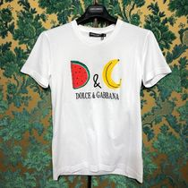 Dolce & Gabbana Crew Neck Unisex Street Style Cotton Short Sleeves Logo