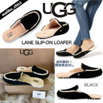 UGG Australia LANE Plain Toe Moccasin Rubber Sole Casual Style Sheepskin Suede