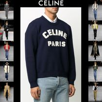 CELINE Crew Neck Pullovers Street Style Long Sleeves Cotton