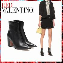 RED VALENTINO Casual Style Plain Leather Block Heels Ankle & Booties Boots