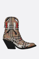 Burberry Tartan Cowboy Boots Casual Style Leather