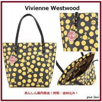 Vivienne Westwood Dots Casual Style Leather Logo Totes