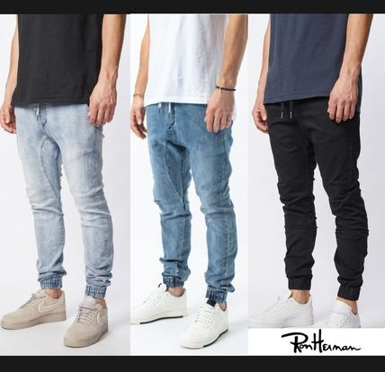 Ron Herman Joggers Unisex Denim Blended Fabrics Street Style Plain Cotton
