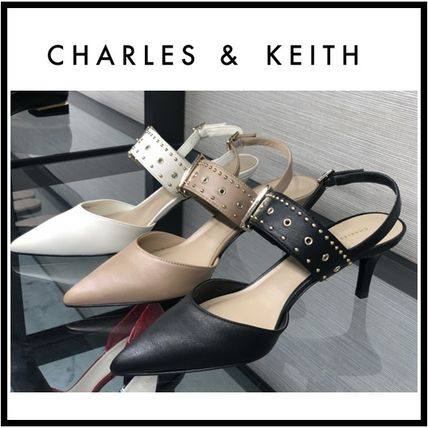 Charles&Keith Casual Style Faux Fur Plain Pin Heels Party Style